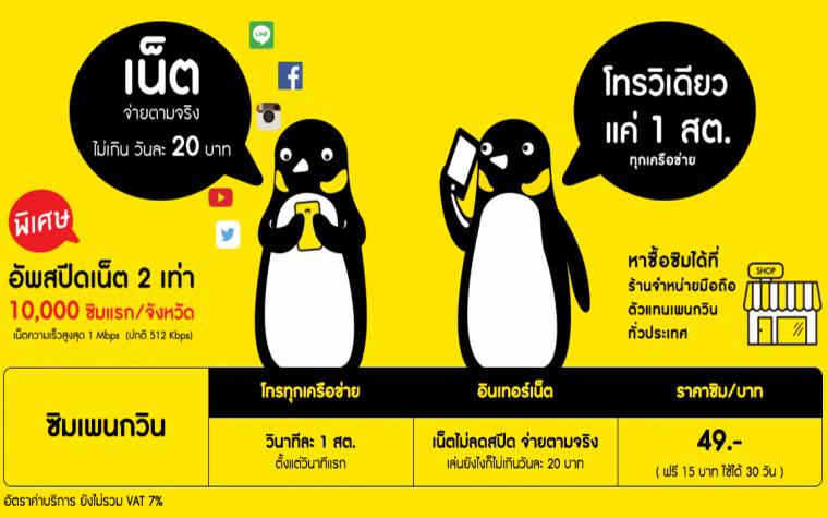เปิดตัว Sim Penguin เน็ตแรง 2 เท่า ครอบคลุมทั่วประเทศ คุณภาพดี