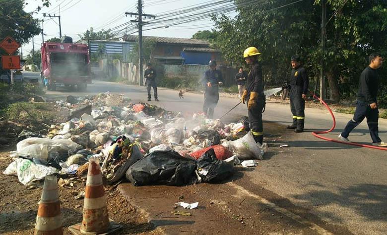 อุบัติเหตุไฟไหม้รถบรรทุกขยะ เหตุแก๊สบ่มผลไม้