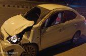 อุบัติเหตุรถเก๋งเสียหลักตกข้างทางชนร่องระบายน้ำใกล้อู่ช่างคำ